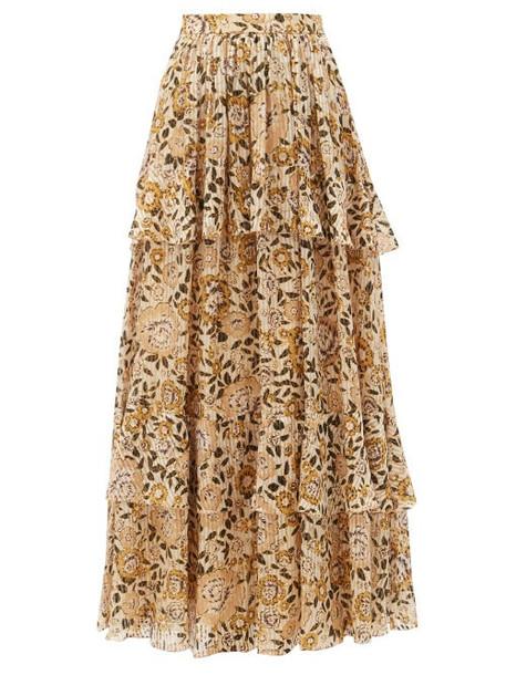 Etro - Breton Floral-print Tiered Silk-blend Maxi Skirt - Womens - Yellow Multi