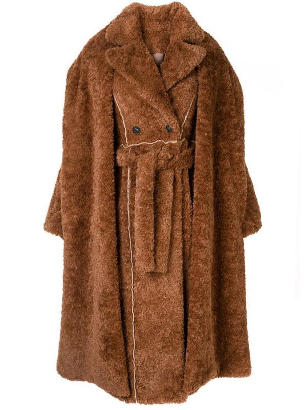 Ruban layered faux-fur coat in brown