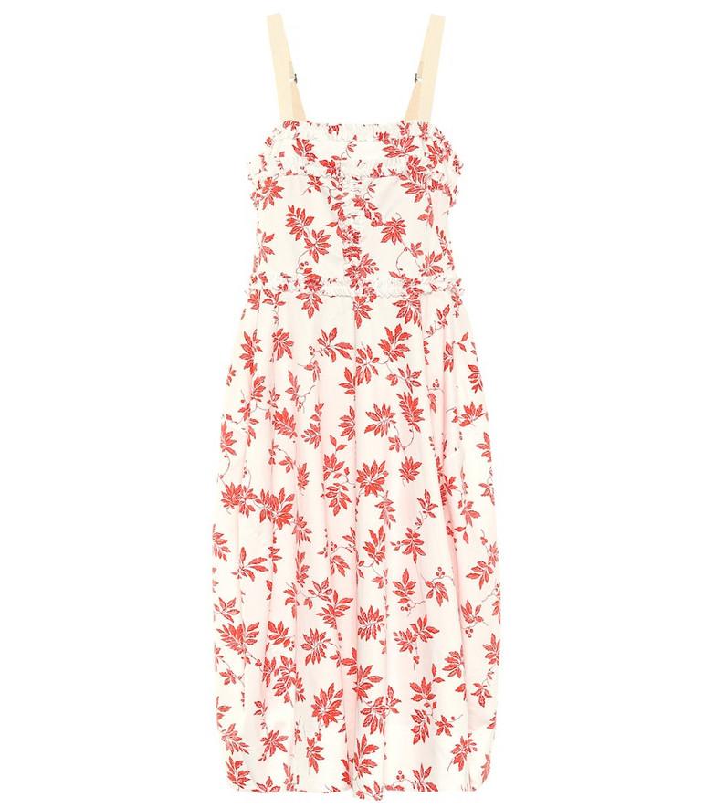 Lee Mathews Lulu floral cotton midi dress in white