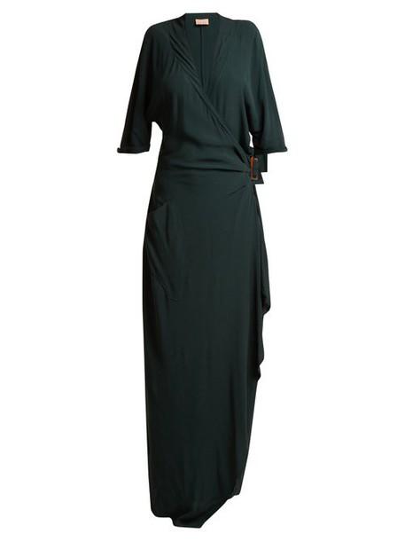 Albus Lumen - Claudia Wrap Dress - Womens - Dark Green