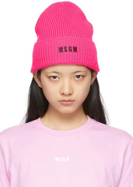 MSGM Pink Logo Beanie in fuchsia