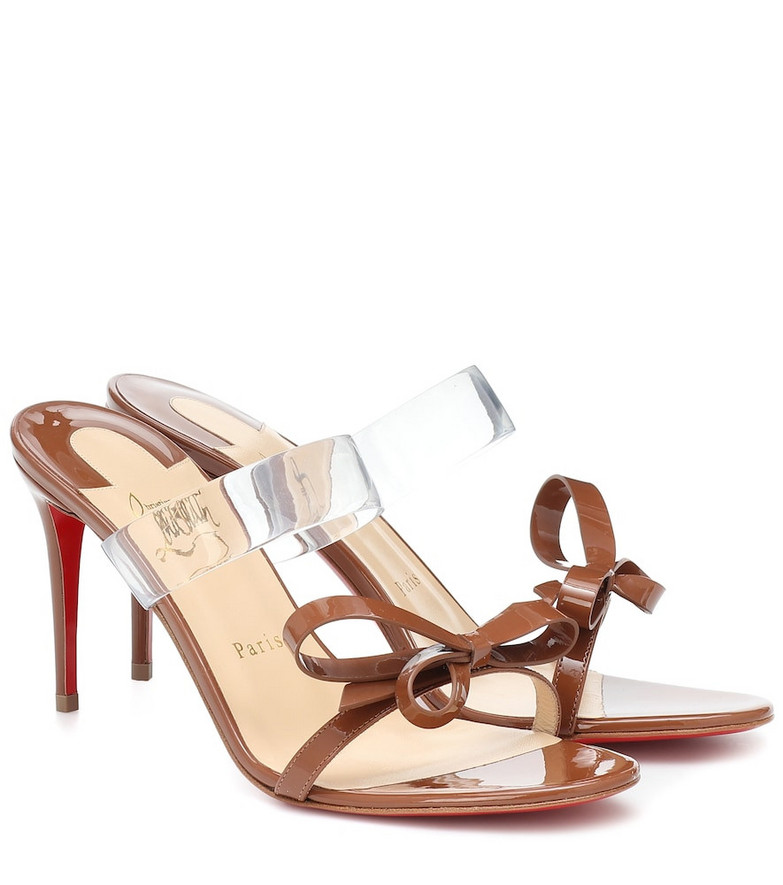 Christian Louboutin Just Nodo 85 PVC and patent-leather sandals in brown