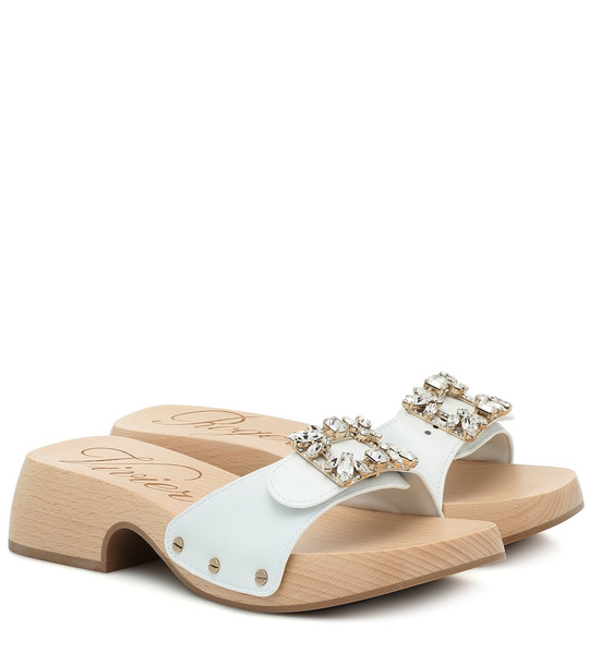 Roger Vivier Viv' Clogs leather sandals in white