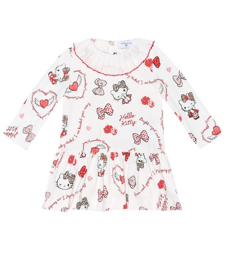 Monnalisa Baby printed stretch-cotton dress in white