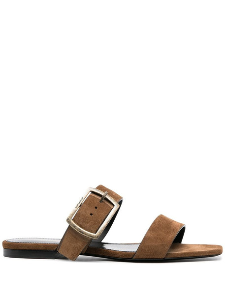 Saint Laurent buckle strap sandals in brown
