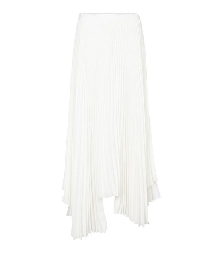 Plan C Pleated asymmetric skirt in white