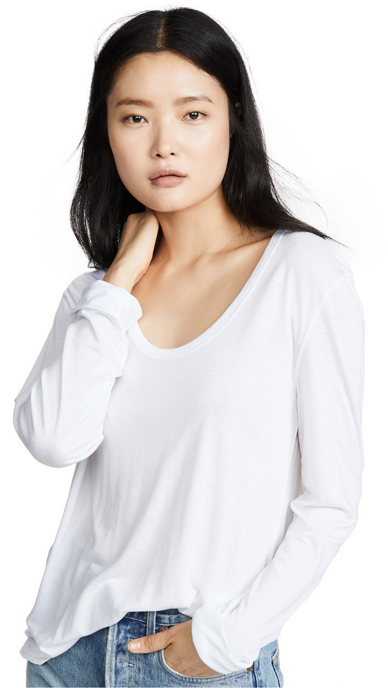 alexanderwang.t Drapey Jersey Long Sleeve Tee with Darting Detail in white