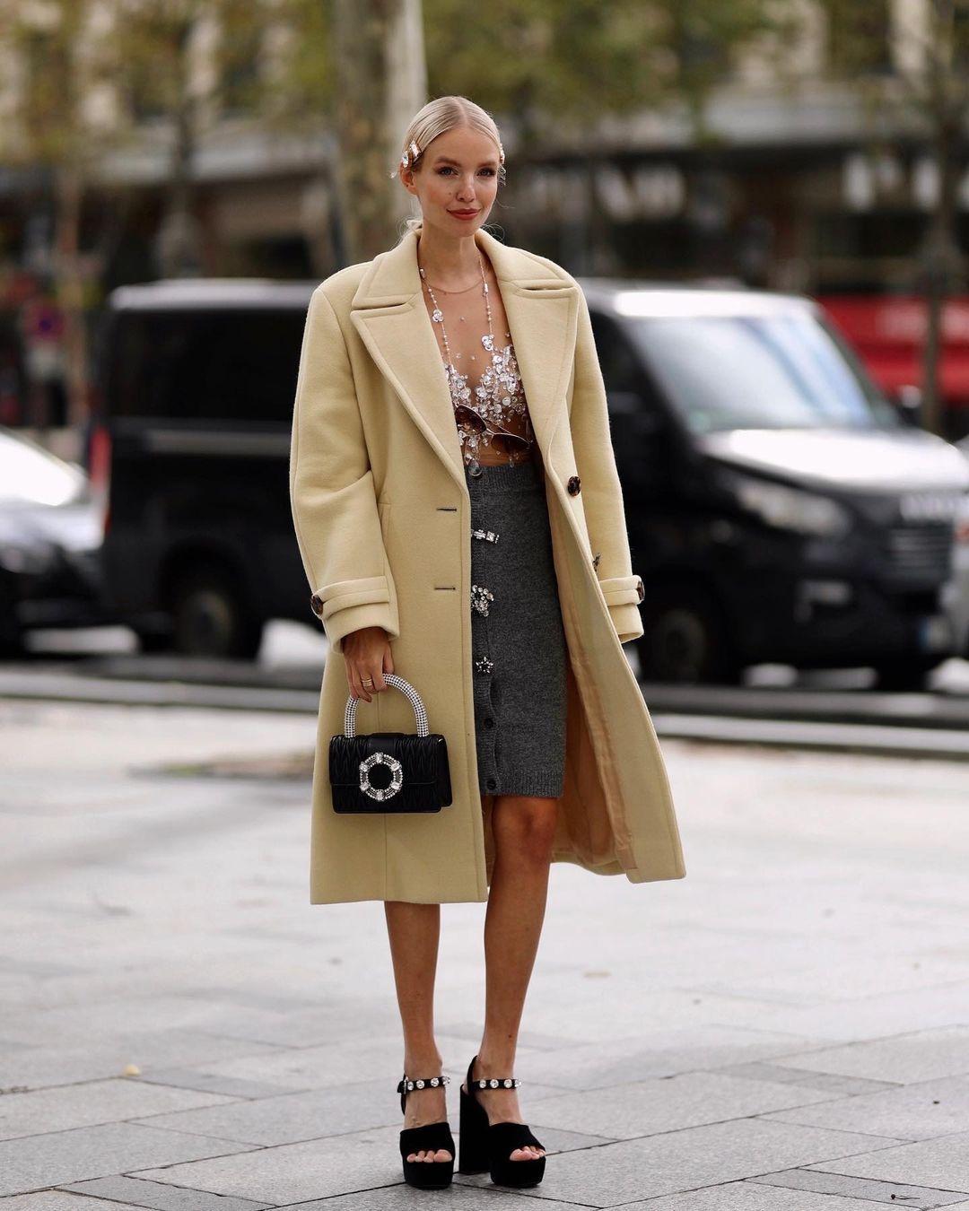 coat long coat black sandals platform shoes mini skirt knit black bag