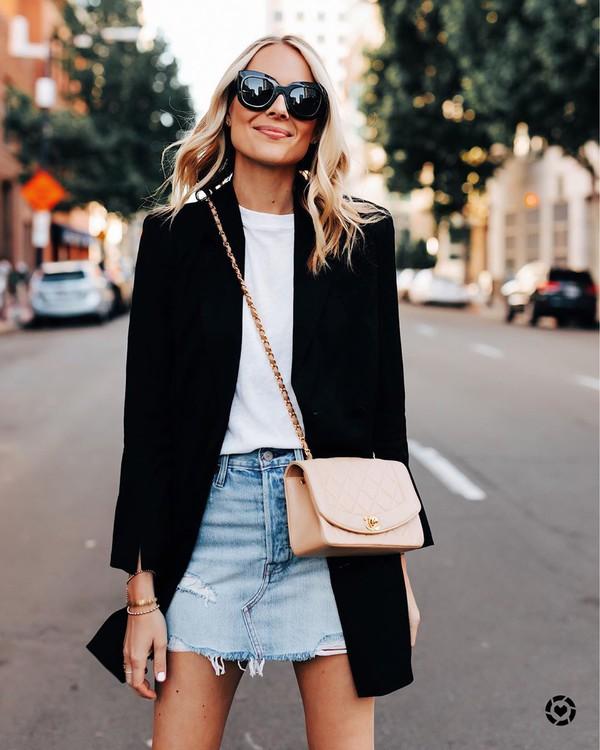 skirt denim skirt black blazer crossbody bag white t-shirt