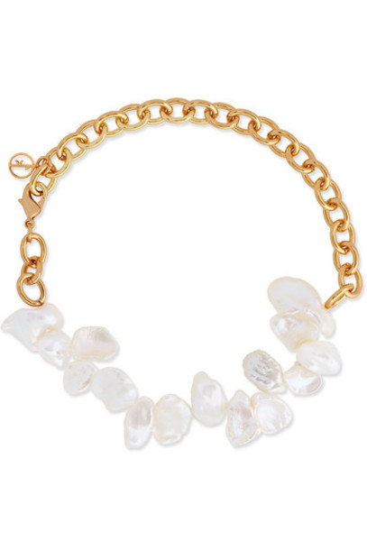 Anissa Kermiche - Two Faced Shelley Gold-plated Pearl Anklet
