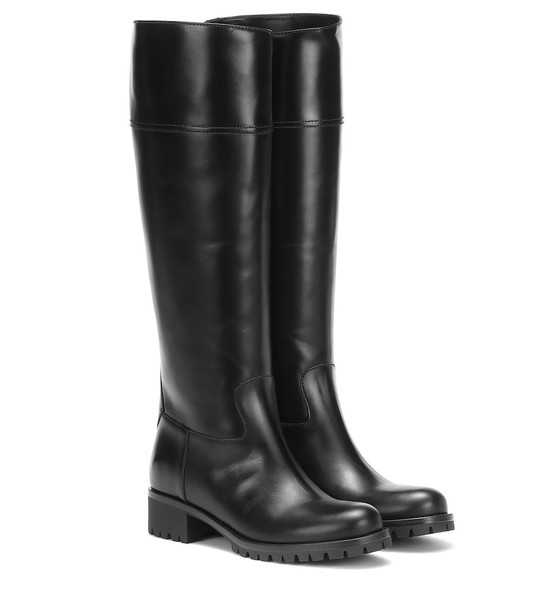 Prada Knee-high leather boots in black