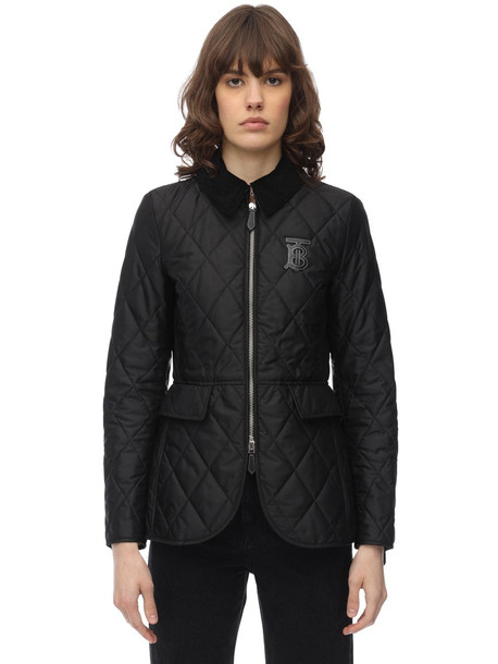 BURBERRY Tb Logo Quilted Nylon Jacket in black