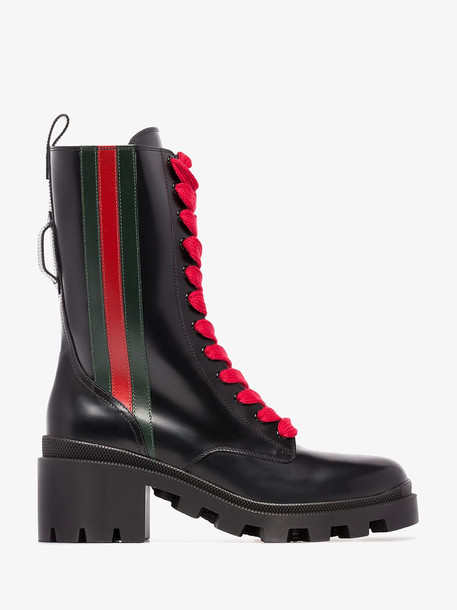 Gucci web striped boots in black