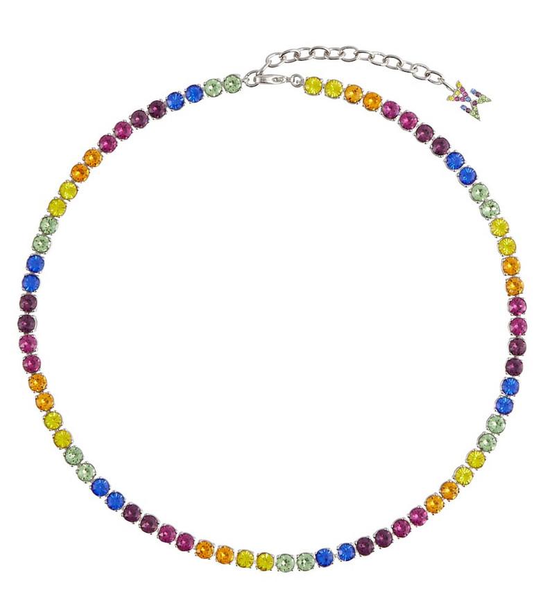 Amina Muaddi Tennis crystal-embellished necklace
