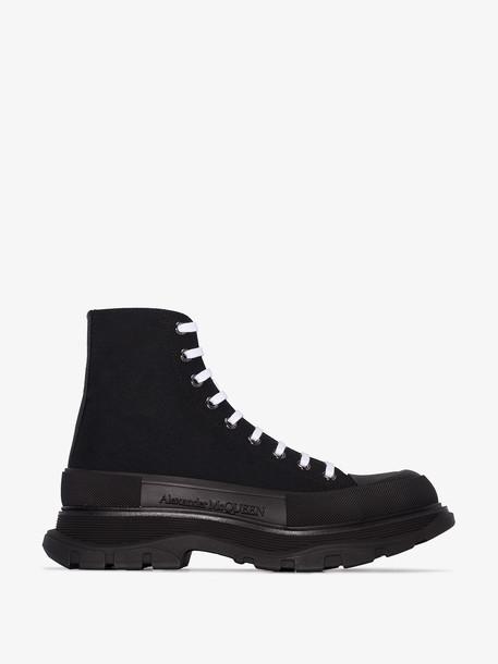 Alexander McQueen black Tread Slick leather sneakers