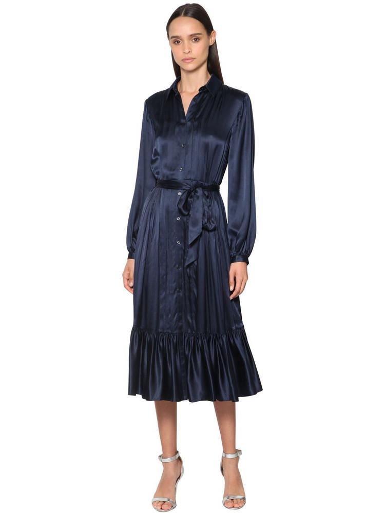 TEMPERLEY LONDON Ruffled Satin Shirt Midi Dress in navy