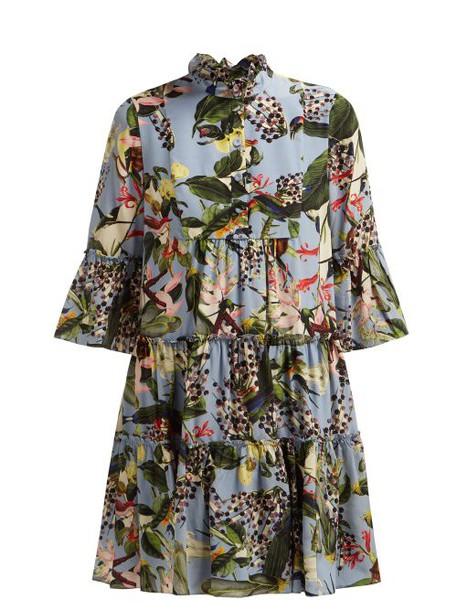 Erdem - Wyn Fassett Dream Print Silk Mini Dress - Womens - Blue Multi