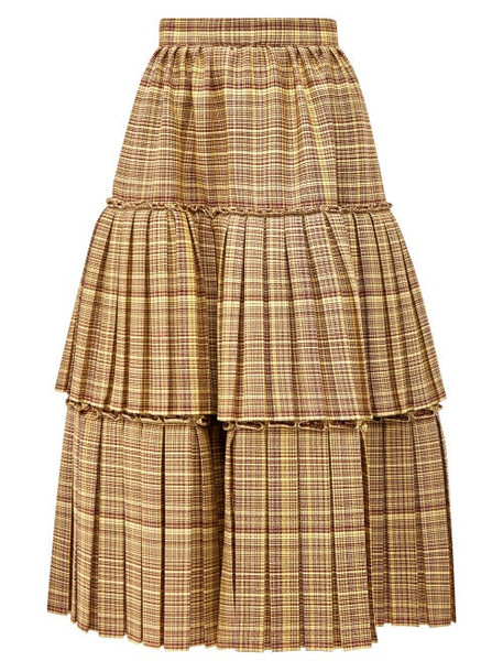 Gucci - Tiered Checked Wool Blend Midi Skirt - Womens - Brown Multi