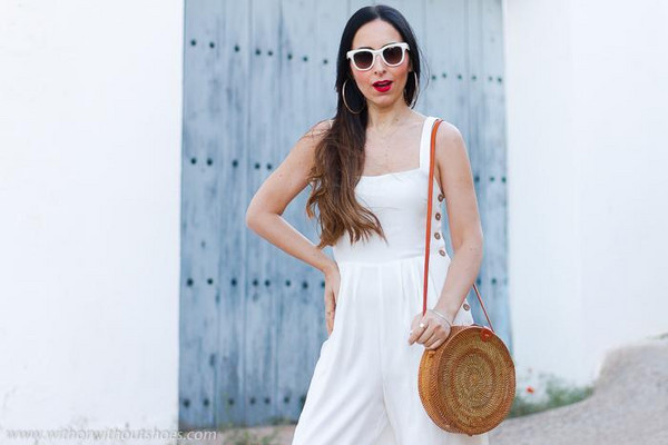 with or without shoes blogger jumpsuit shoes bag sunglasses jewels