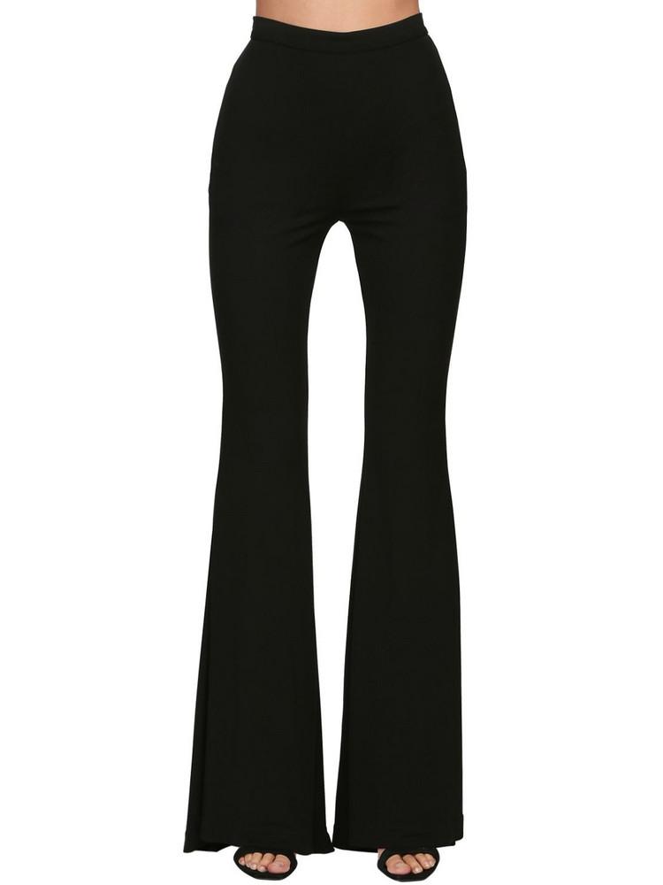 BALMAIN High Waist Flared Jersey Pants in black