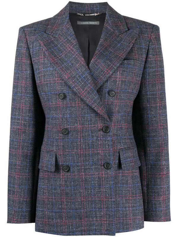 Alberta Ferretti plaid print blazer in grey