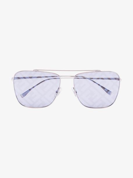 Fendi silver tone FF motif sunglasses in metallic