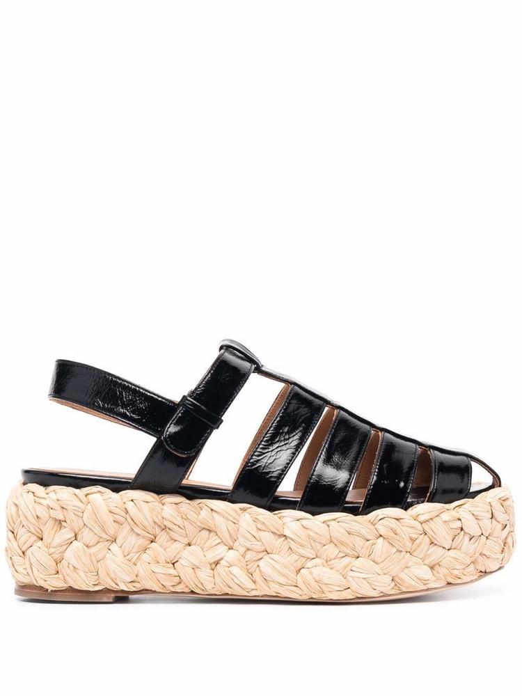 Paloma Barceló Paloma Barceló Turvi raffia-sole platform sandals - Black