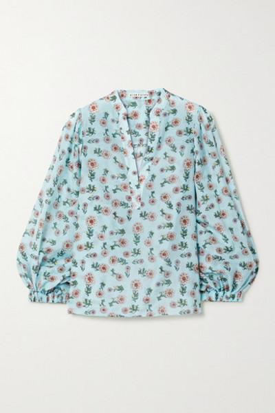 Alice + Olivia Alice Olivia - Raya Floral-print Cotton And Silk-blend Chiffon Blouse - Light blue