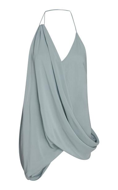 Jacquemus Asymmetric Crepe Halterneck Top Size: 36 in blue