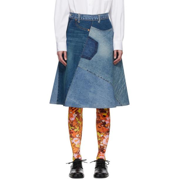 Junya Watanabe Blue Patchwork Skirt