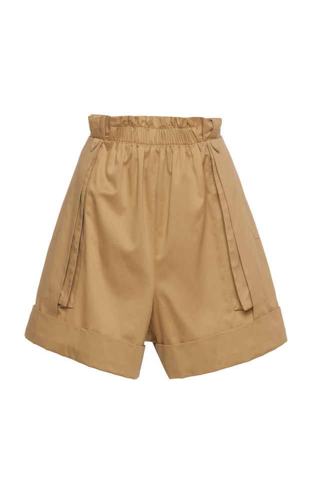 Alberta Ferretti Gathered Cotton Shorts in neutral