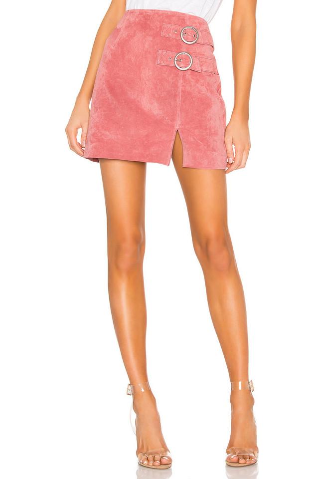 BLANKNYC Suede Buckle Skirt in coral