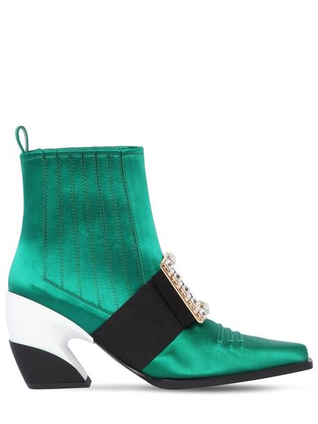 ROGER VIVIER 65mm Viv Tex Silk Satin Cowboy Boots in green