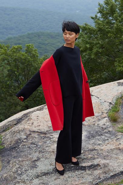 Mansur Gavriel Reversible Bicolor Wool Stand Collar Coat - Black/Flamma