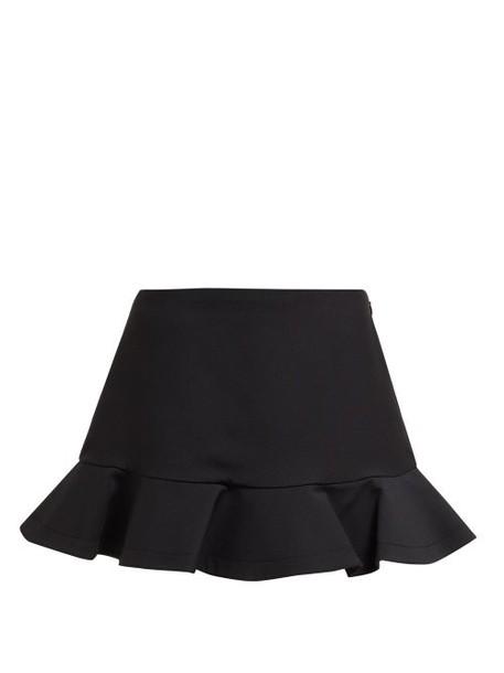 Valentino - Ruffled Wool Blend Mini Skorts - Womens - Black