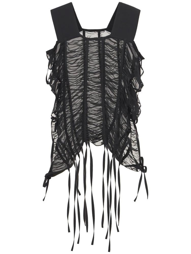 NOIR KEI NINOMIYA Ruched Georgette Top W/ Ties in black