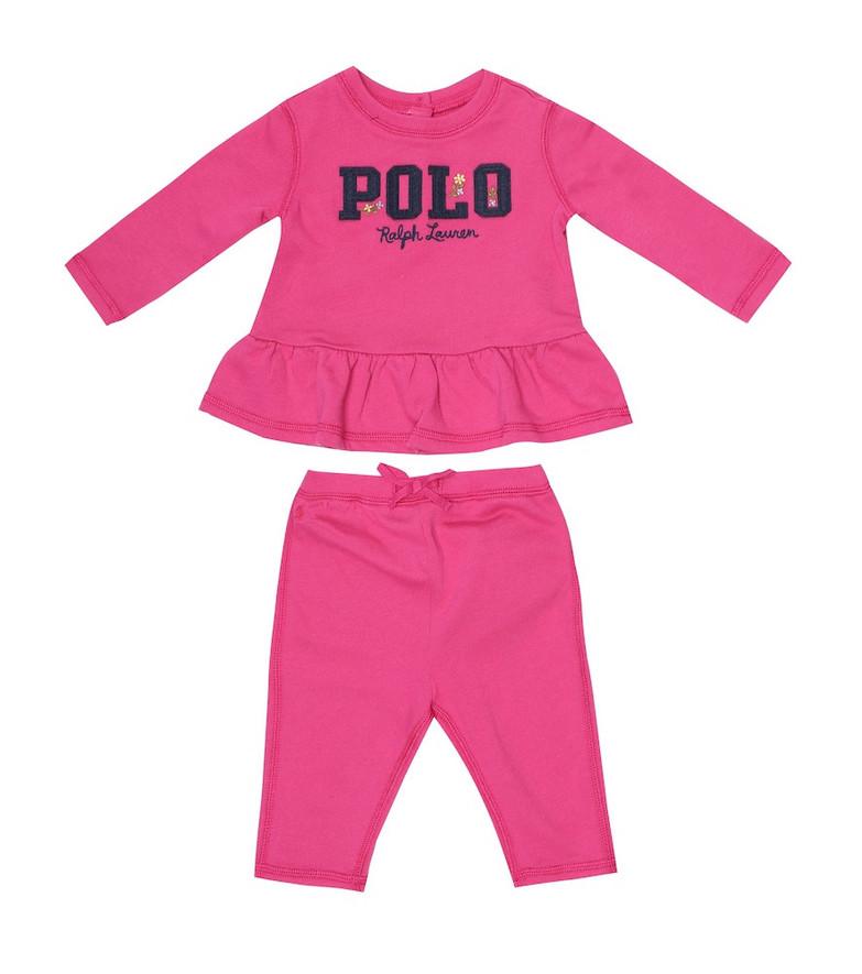 Polo Ralph Lauren Kids Baby logo cotton-blend sweatshirt and pants set in pink