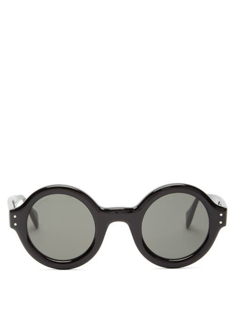 Gucci - Round Acetate Sunglasses - Womens - Black Grey