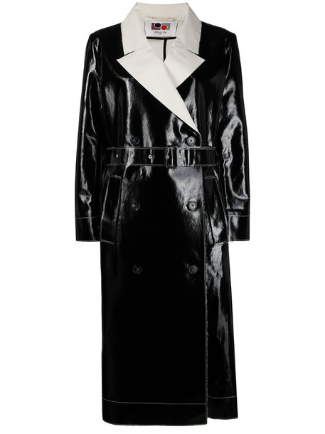 Ports 1961 double-breasted trench coat in black