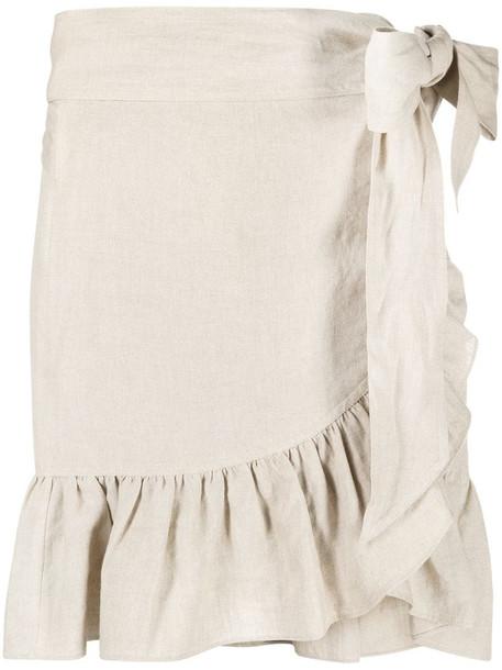 Isabel Marant Étoile ruffle trim wrap linen skirt in neutrals