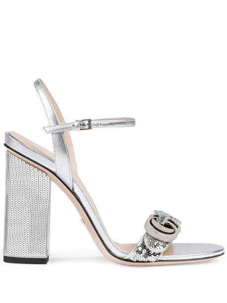 Gucci Interlocking G 105mm sequined sandals in silver