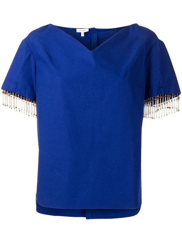 Delpozo cotton-mix shirt with beaded trim in blue