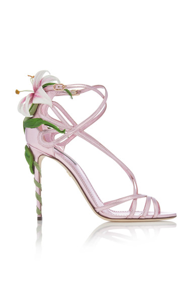 Dolce & Gabbana Lily-Embellished Metallic Leather Sandals in pink