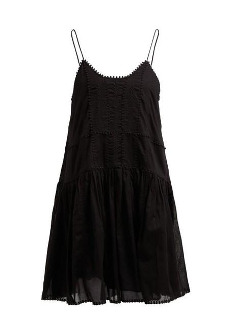 Isabel Marant Étoile - Amelie Lace Trimmed Gathered Cotton Slip Dress - Womens - Black