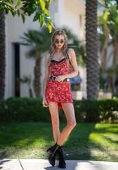 dress,stella maxwell,celebrity,model off-duty,mini dress,red dress,coachella,coachella outfit,festival
