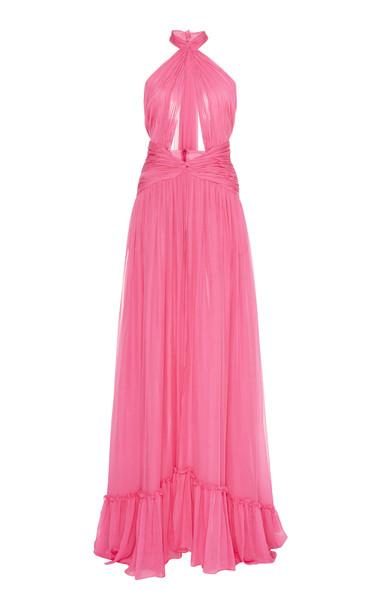 Dundas Draped Halter Maxi Dress in pink