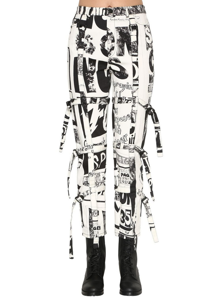 JEREMY SCOTT High Waist Printed Cotton Denim Jeans in black / white