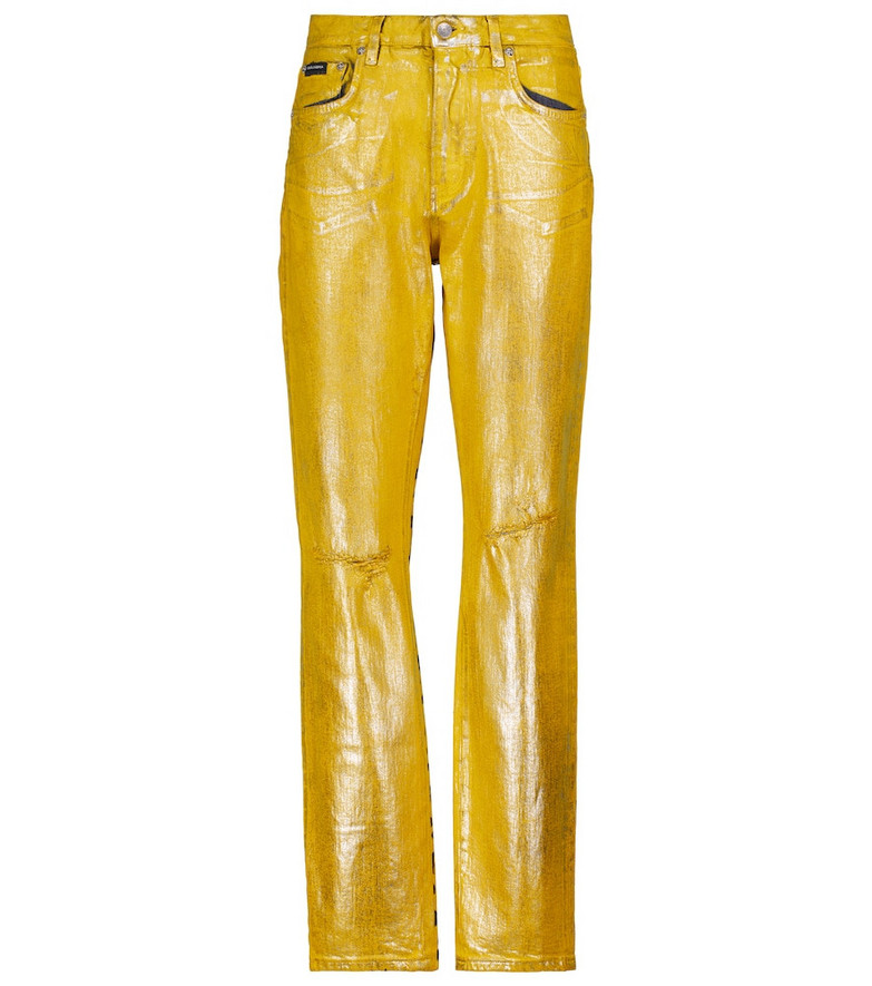 Dolce & Gabbana Mid-rise leopard-print jeans in yellow