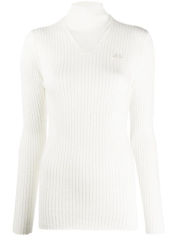 Courrèges embroidered logo turtleneck jumper in white