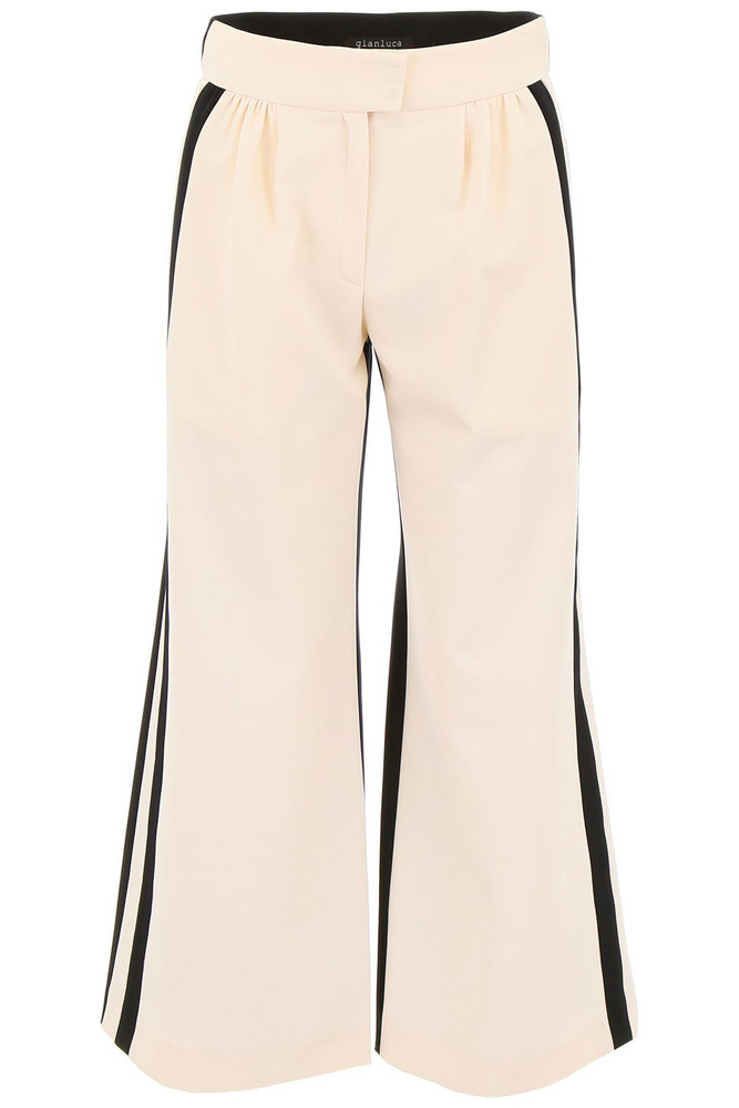 Gianluca Capannolo Cropped Palazzo Pants in black / white / beige